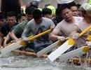 Trai làng Hà Nội căng mình luyện đua thuyền trên sông