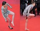 Kristen Stewart cởi giày đi chân trần trên thảm đỏ Cannes