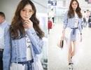 Siêu mẫu Lâm Chí Linh trẻ trung, sành điệu ngoài sân bay