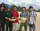 Ngư dân tự nguyện giao 2 cá thể rùa biển bị dính lưới để thả lại môi trường
