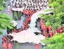 Bản đồ Việt Nam in dấu vân tay của 2.000 học sinh gây ấn tượng trong lễ khai giảng