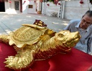 """Mục sở thị """"cụ"""" rùa mạ vàng 9999, giá trăm triệu đồng không bán"""