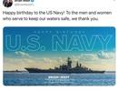 Nghị sĩ Mỹ đăng nhầm ảnh tàu chiến Nga chúc mừng hải quân Mỹ
