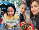 """Tăng Thanh Hà, Hoa hậu H'Hen Niê """"lê la"""" quán xá vỉa hè khi ra Hà Nội"""