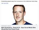 Trang web gây sốc khi đăng tin Mark Zuckerberg qua đời vì Covid-19