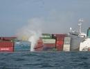 Phát hiện những bao chứa hóa chất nổi ven biển