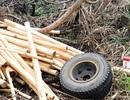 Xe chở gỗ đang chạy bỗng… rụng 2 bánh