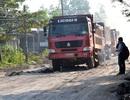 Lập chốt xử phạt xe tải chở đá vi phạm tải trọng