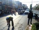 Xe container nổ lốp, hai phụ nữ bị thương