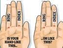 Tỷ lệ ngón tay phản ánh cách xử sự của nam giới