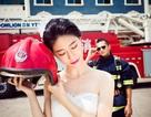 Độc đáo bộ ảnh cưới của chàng lính cứu hỏa và hôn thê