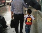 """Xúc động hình ảnh người cha """"ướt sũng"""" che mưa cho con"""