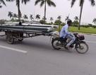 Xe tự chế chở hàng quá khổ vẫn hoành hành ở Hà Nội