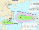 Chiều nay có bão trên Biển Đông, Nam Bộ mưa to