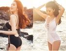 Hoa hậu Ngọc Duyên mặc áo tắm gợi cảm dạo biển dưới nắng hoàng hôn