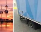 Mặt đường tan chảy vì nắng nóng, nuốt chửng bánh xe tải