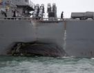 Tàu chiến Mỹ chịu thương tích nặng nề sau va chạm với tàu dầu