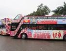 Xe buýt mui trần lăn bánh, lên sân bay Nội Bài đón U23 Việt Nam