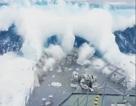"""Khoảnh khắc sóng thần cao 10m """"nuốt chửng"""" tàu chiến New Zealand"""