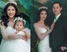 Trang Trần bất ngờ làm cô dâu gợi cảm cùng chồng và con gái