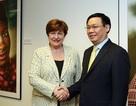 Phó Thủ tướng Vương Đình Huệ gặp gỡ Tổng Giám đốc WB, IMF tại Mỹ