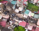 Toàn cảnh dãy nhà cháy rụi bên đường Đê La Thành nhìn từ trên cao