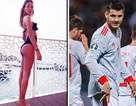 """Morata ghi bàn ở vòng loại Euro 2020, bà xã xinh đẹp khoe ảnh """"nóng"""" ăn mừng"""