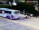 Xe tải chở cần cẩu bất ngờ lật nghiêng, lái xe mở cửa tung mình chạy thoát thân