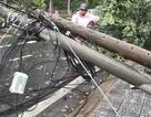 Xe khách vướng dây cáp thòng lọng giữa đường, giật đổ 3 cột điện