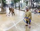 Dân quân, công an đội mưa cùng giáo viên giúp trường dọn lụt