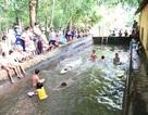 Trường quê cải tạo bể xả trạm bơm làm nơi dạy bơi cho học sinh tiểu học