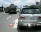 Xe bồn ép ôtô 7 chỗ, 4 người may mắn thoát nạn