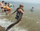 Người phụ nữ vác… trăn đi tắm biển