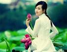 Nữ sinh trường Báo yêu kiều bên sắc sen hồng