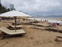 Nha Trang: Bãi biển vắng khách vì hàng tấn rác dạt vào bờ sau mưa lũ