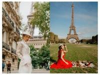 Á hậu Hoàng Oanh mang nón lá Việt thả dáng bên tháp Eiffel