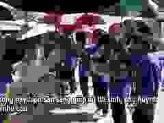 """Hà Nội: Thanh niên tình nguyện """"đội nắng"""" tiếp sức thí sinh thi vào lớp 10"""