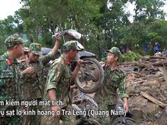 Hình ảnh hàng trăm người lật tung đất đá, tìm người mất tích tại Trà Leng
