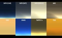 Màu hoàng hôn trên các hành tinh khác nhau