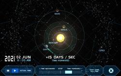 Giao diện ứng dụng hiển thị quỹ đạo quay của các hành tinh trong hệ mặt trờ