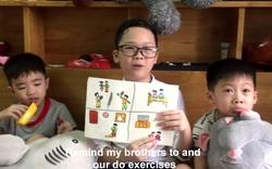 Dũng sĩ nhỏ Vũ Đặng Hải Sơn vẽ tranh tuyên truyền chống dịch Covid-19