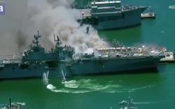 Tàu chiến Mỹ bốc cháy dữ dội, 18 thủy thủ bị thương