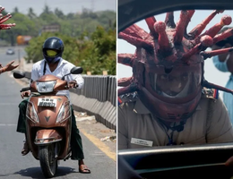 """Cảnh sát đội """"mũ bảo hiểm corona"""" cảnh báo người dân không ra đường"""