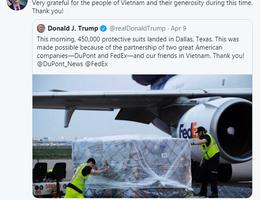 Nghị sĩ Mỹ cảm ơn Việt Nam vì hỗ trợ chuyển giao 450.000 bộ đồ bảo hộ y tế