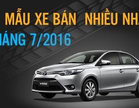 Top 10 mẫu xe bán nhiều nhất tháng 7/2016