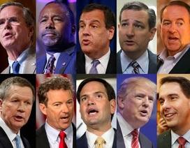 10 ứng viên tổng thống đảng Cộng hòa Mỹ lần đầu tranh luận trực tiếp
