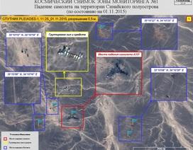 Nga công bố ảnh vệ tinh vị trí các vùng mảnh vỡ của máy bay Nga