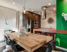 Căn bếp xinh đẹp với tường gạch sơn trắng