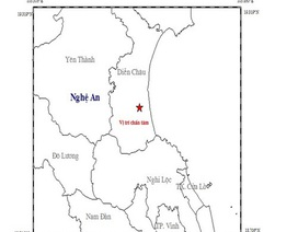Vùng ven biển Nghệ An rung lắc vì động đất 3.6 độ richter