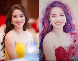 9x vẽ hoa hậu Phạm Hương đẹp lung linh